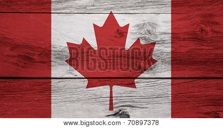 Wooden Canadian Flag