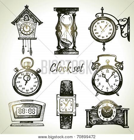 Hand drawn set of clocks and watches