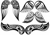 image of spread wings  - Good set of different tattoo wings - JPG