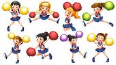 stock photo of pom poms  - Illustration of many cheerleaders with pom pom - JPG