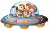 stock photo of spaceships  - Illustration of many children on a spaceship - JPG