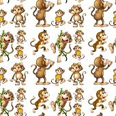 pic of enormous  - Illustration of a seamless monkey with bananas - JPG