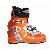 picture of ski boots  - Modern orange ski boots isolated on white background - JPG