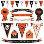 picture of rosettes  - set of halloween decorations with bunting ribbons rosettes and pennants isolated on white - JPG