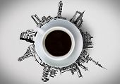 stock photo of interior sketch  - White cup of coffee and building sketches around - JPG