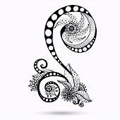 pic of mehndi  - Henna Paisley Mehndi Doodles Abstract Floral Vector Illustration Design Element - JPG