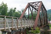 stock photo of trestle bridge  - Old railroad bridge converted for pedestrian use Parsons West Virginia - JPG