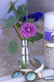 foto of dowry  - Decoration for wedding table in purple color  - JPG