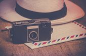 stock photo of panama hat  - Nostalgic travel explorer concept photo - JPG
