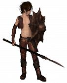 pic of spears  - Fantasy illustration of a warrior elf boy wearing bronze dragon scale armour and holding a spear and shield - JPG
