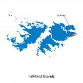 stock photo of falklands  - Detailed vector map of Falkland Islands and capital city Stanley - JPG