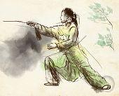 foto of tai-chi  - An hand drawn full sized illustration  - JPG