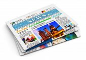 pic of newspaper  - Stack of newspapers with business news isolated on white background - JPG