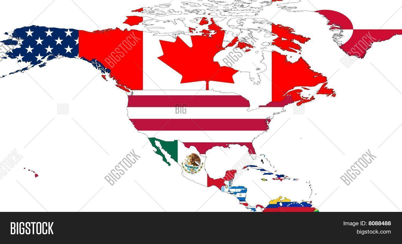 North America Map Flags Image Photo Bigstock