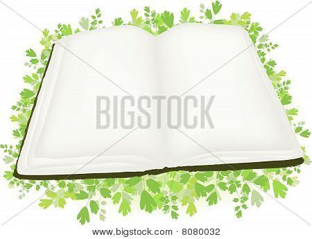 book at green leaves