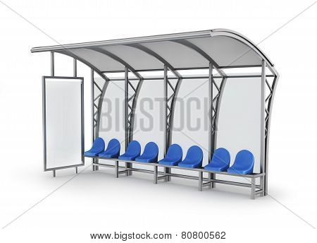 Bus Stop Isolated On White Background.