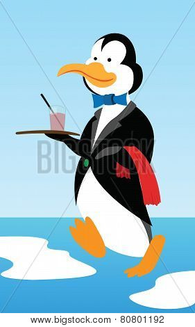 Penguin waiter brings cocktail