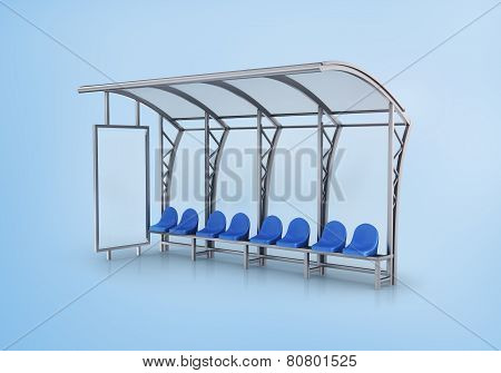 Bus Stop Isolated On Blue Background.