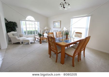 White lounge and dining room