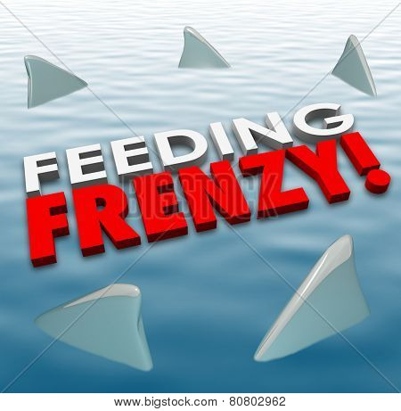 Feeding Frenzy in 3d letters on water surface with shark fins surrounding them to illustrate fierce and deadly competition in a game, career or life