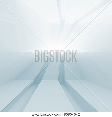 Abstract Blue Empty 3D Interior With Glowing Perspective