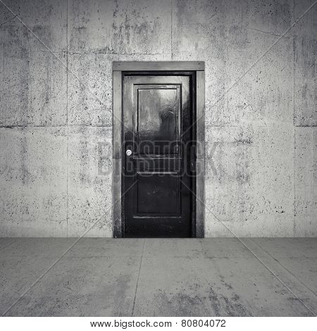 Abstract Empty Concrete Interior With Black Wooden Door