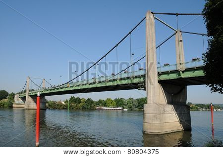 France, Suspension Bridge Of Triel Sur Seine