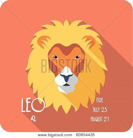 Zodiac sign Leo icon flat design