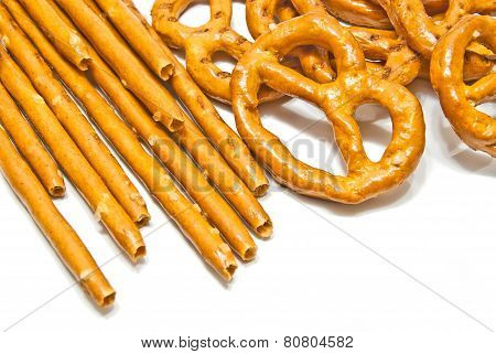 Salted Pretzels And Breadsticks Closeup