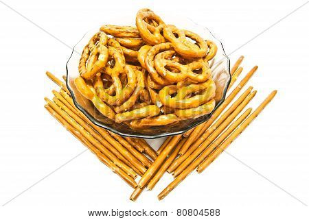 Salted Pretzels And Breadsticks