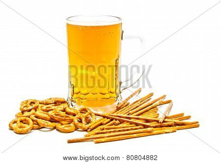 Tasty Pretzels, Breadsticks And Beer