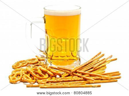 Breadsticks, Pretzels And Beer Closeup