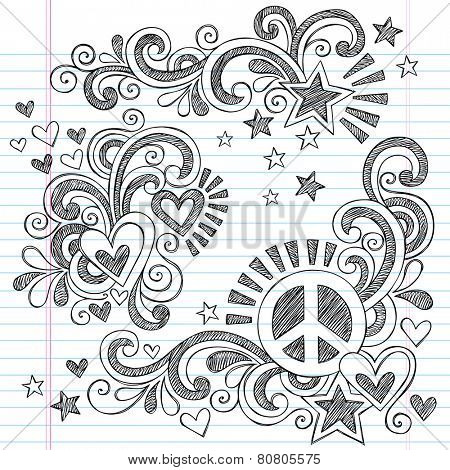 Peace and Love Back to School Sketchy Notebook Doodles with Peace Sign, Heart, Shooting Star, and  Swirls- Hand-Drawn Illustration Design Elements on Lined Sketchbook Paper Background