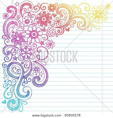 Flower Power Back to School Sketchy Notebook Doodles with Flower Blossoms, Vines, and  Swirls- Hand-Drawn Illustration Design Elements on Lined Sketchbook Paper Background