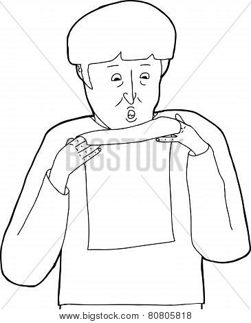 Outline Of Scared Man Reading