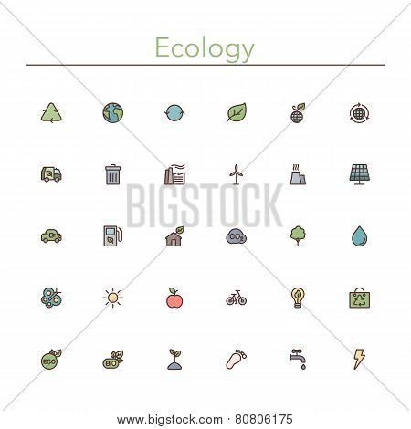 Ecology Colored Line Icons