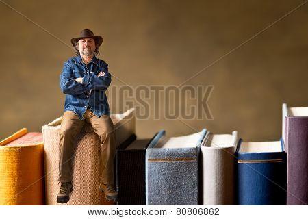 Man Sitting On The Books