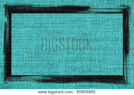teal blue burlap textured background with black frame design