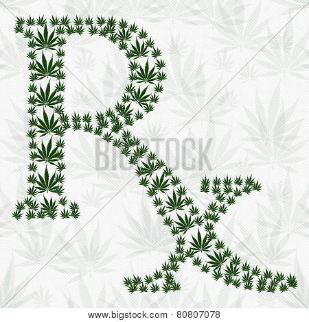Green And White Prescription Symbol Made From Marijuana Leaves Pattern Repeat Background