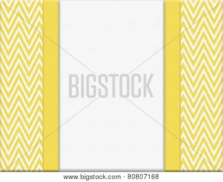 Yellow And White Chevron Zigzag Frame With Ribbon Background