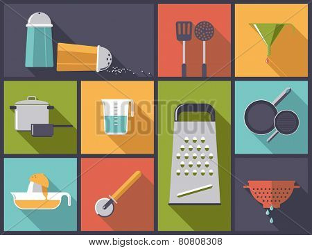 Cooking utensils icons vector illustration. Flat design illustration with various kitchen tools.