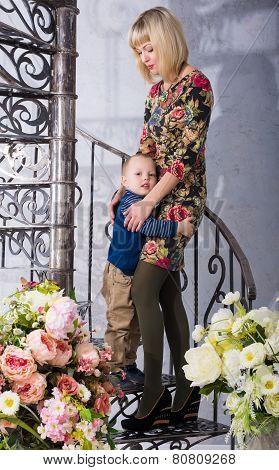 son hugging her mother