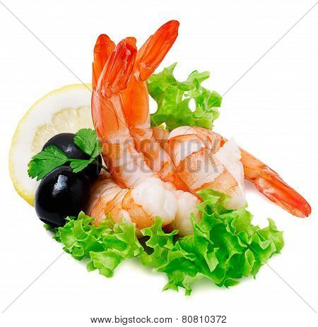 Green Salad With Shrimps And Lemon Isolated On White Background