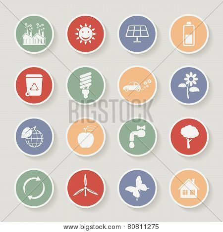 Round ecology icon set. Vector illustration
