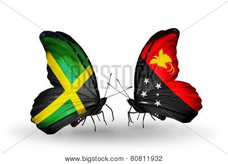 Two Butterflies With Flags On Wings As Symbol Of Relations Jamaica And Papua New Guinea