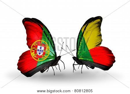 Two Butterflies With Flags On Wings As Symbol Of Relations Portugal And Benin