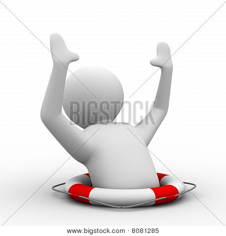 Man Suffering Disaster On  White Background. Isolated 3D Image