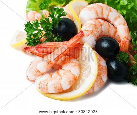 Sea Foods - Shrimps. Garnished With Fresh Raw Salad Leaf Olive And Lemon, Isolated On The White Back