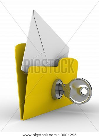 Yellow Computer Folder With Mail On White Background. Isolated 3D Image