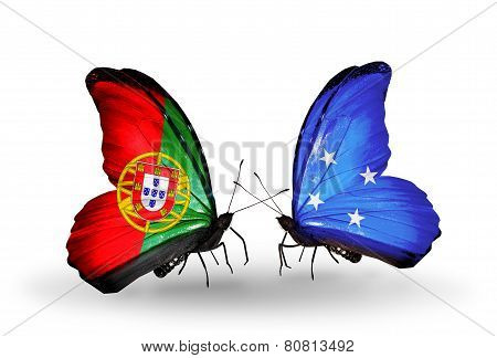 Two Butterflies With Flags On Wings As Symbol Of Relations Portugal And Micronesia